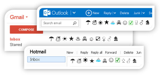 Symbol preview - Outlook, Gmail, Hotmail