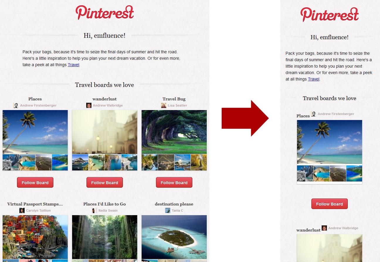 Pinterest uses adaptive email layouts