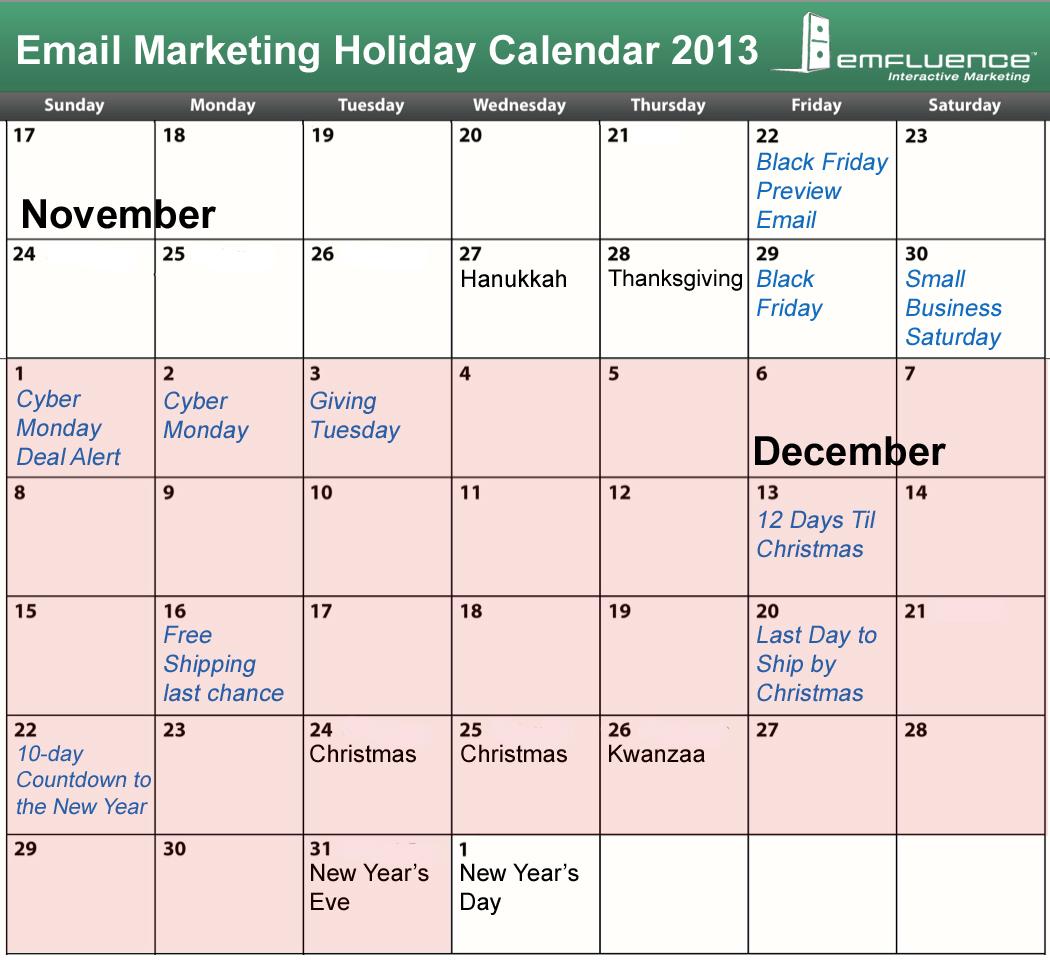 Email Marketing Holiday Calendar 2013 by emfluence