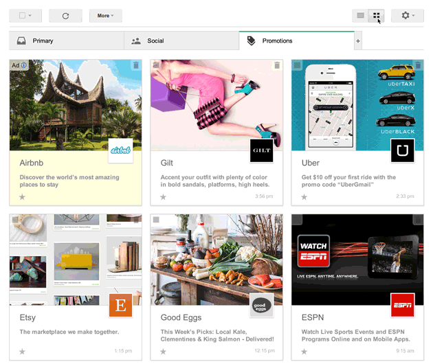 Gmail's New Inbox Layout Emphasizes Images Over Subject Lines