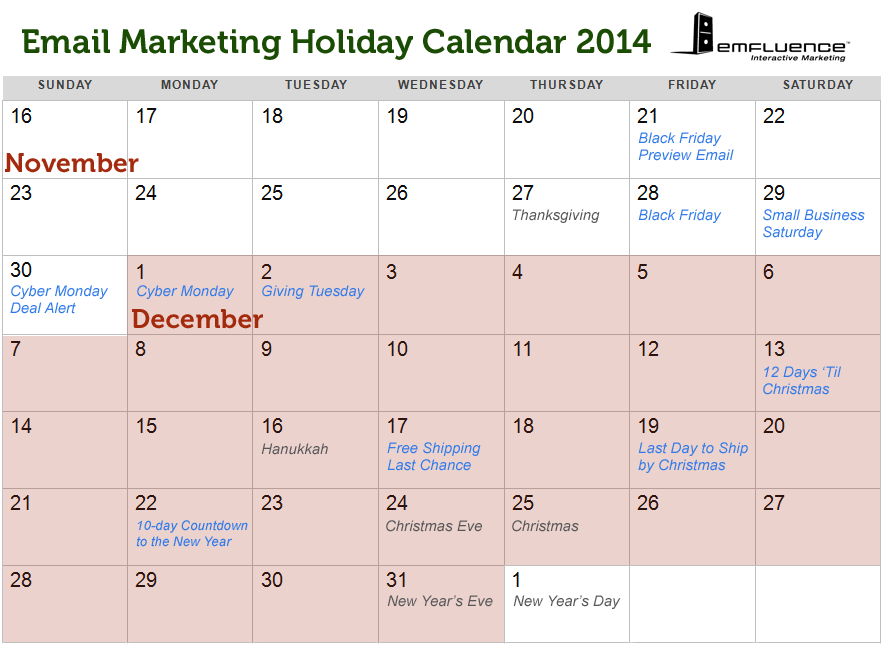 Important Dates for Your 2014 Holiday Promotional Calendar