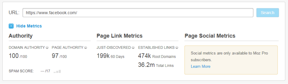 page authority and link metrics from SEO analytics