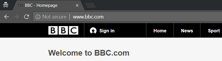 google chrome http warning: bbc