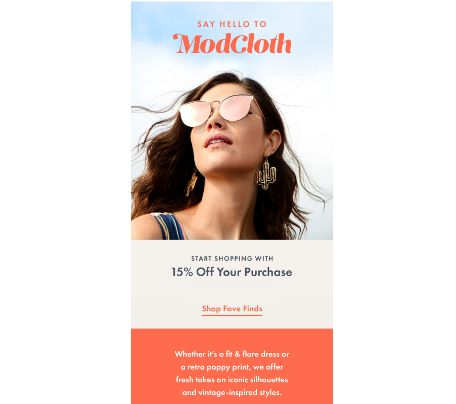 Modcloth Welcome Email