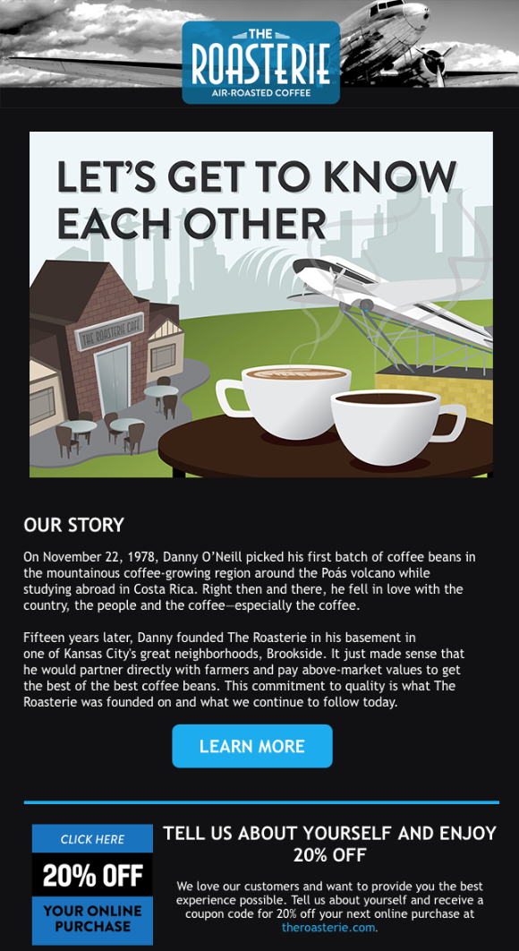 The Roasterie Welcome Email