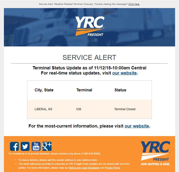 YRC Service Alert