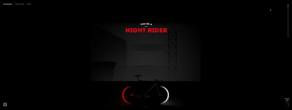 Cyclemon.com parallax navigation menu