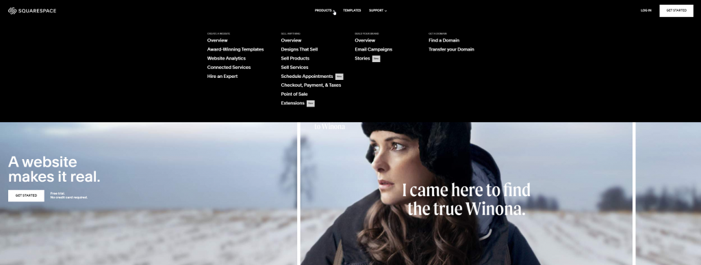 Squarespace.com's navigation bar