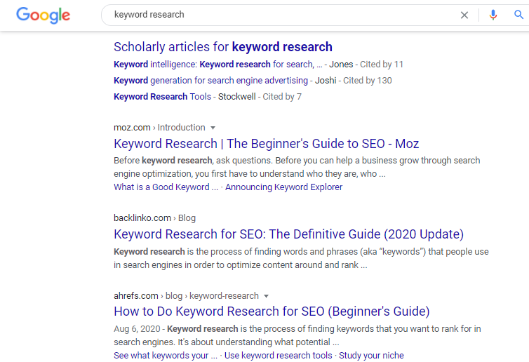 Google search results page for the search query keyword research.