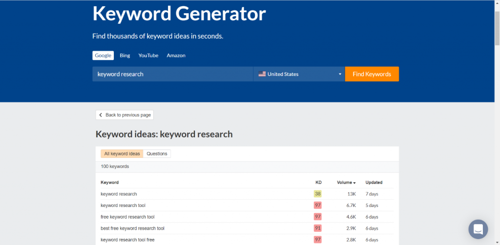 Screen shot of ahref's Keyword Generator tool.