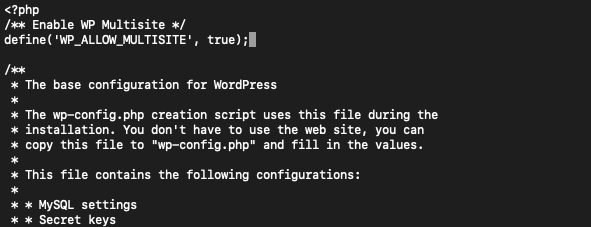 Image of WordPress command line to enable the multisite setting