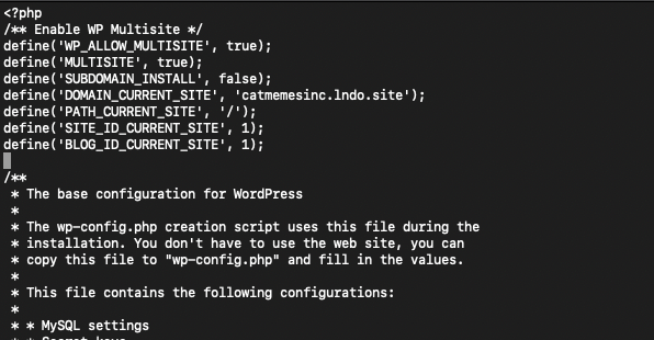 Image of sample code for a WordPress multisite