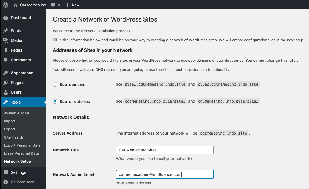 Image of the WordPress Multisite Tools panel