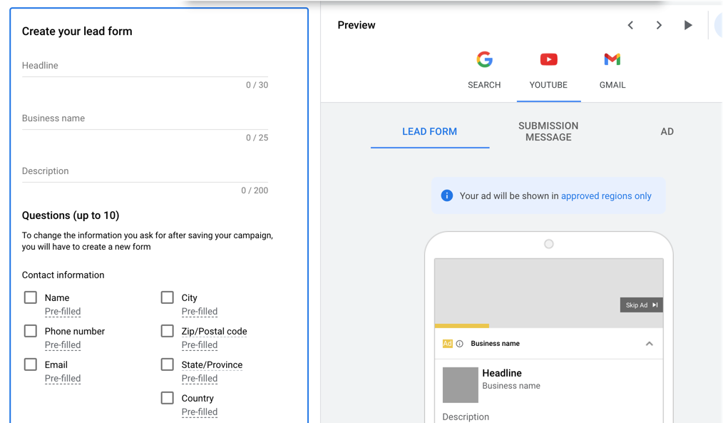 Screen capture of a Google lead form.